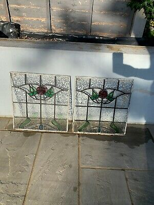 2 X Stained Glass Window Original 1930's Coloured Leaded Panels. • 100£