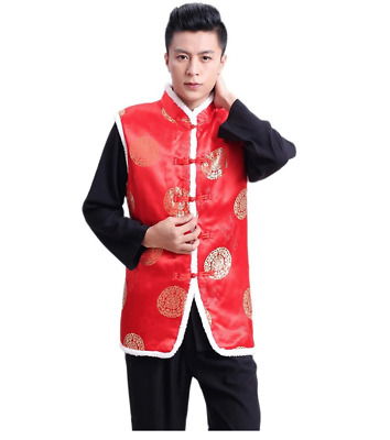 $22.99 • Buy EXCELLANYARD Men's Chinese Tang Suit Cotton-Padded Waistcoat Winter Vests M Red
