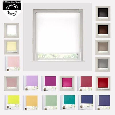 BLACKOUT ROLLER BLINDS -  EASY FIT TRIMMABLE ( 20 Plus Colours) • 19.99£