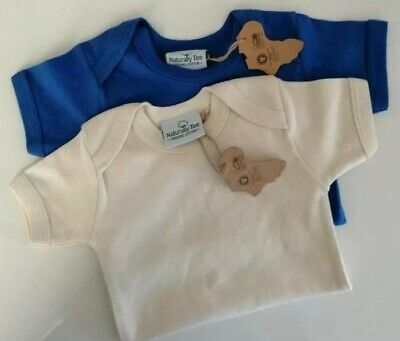 Baby Bodysuits Pack 2. Blue/natural  100% Organic Cotton Age 3-6months *NEW* • 11.50£