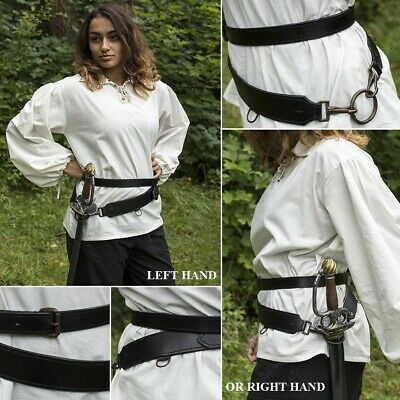 Leather Double Wrap Weapon Belt. Perfect For Costume Or LARP • 58£