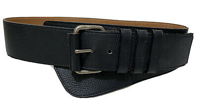 AU95 • Buy SCANLAN & THEODORE Large-Buckle Corset Belt - Black Textured Leather Sz: S M