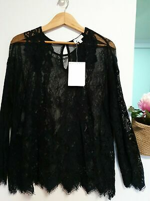 AU32 • Buy Gorgeous Witchery BLACK / NAVY Lace Top Size XL  Fit 16-18 New With Tags