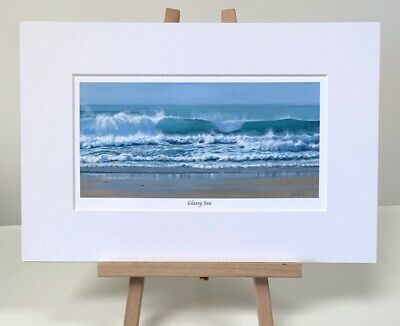 'Glassy Sea' 8x12 In Seascape, Sea, Crashing Waves, Cornwall Small Print • 15£