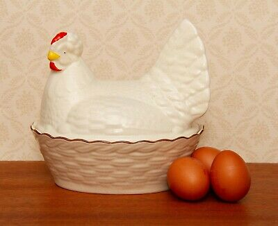 Blakeney Pottery Hen Egg Basket Chicken Egg Storage Vintage Made In England • 29£