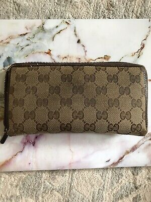 $51 • Buy Authentic Gucci GG Canvas Leather Zip Around Long Wallet Brown