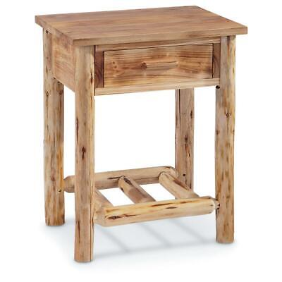 $130.49 • Buy Wood Farmhouse End Table Rustic Cabin Side Chair Drawer Log Nightstand Bedside