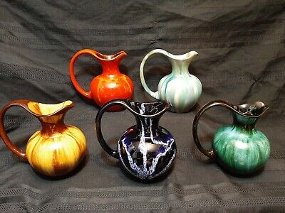 $ CDN144.44 • Buy 4x  Blue Mountain Pottery  RED WITH HINTS OF MUSTARD 6 PITCHER POTTERY STUDIO DS