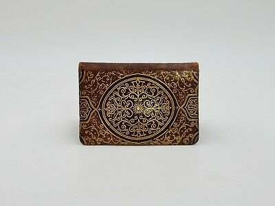 $4.60 • Buy Vintage Nesell Leather Coin Purse Wallet Button Lock Small Brown And Gold