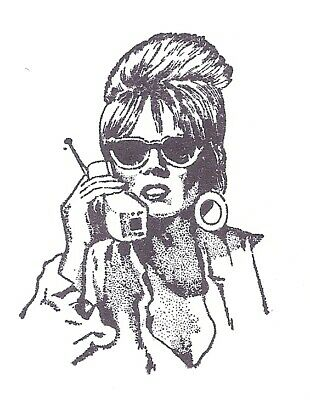 AU6.44 • Buy Photo Realistic 80's Retro It Girl Cell Phone Sunglasses Rubber Stamp