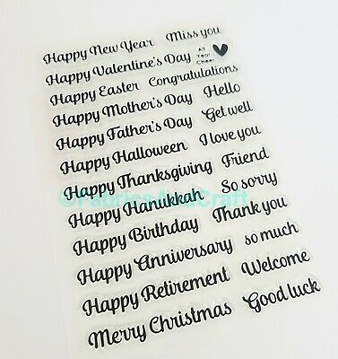 24 Sentiments/greetings Clear Rubber Stamps/stamp-card Making-happy Day/get Well • 5.25£