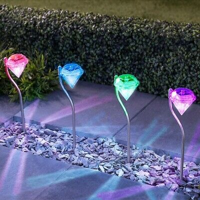 4pcs Solar Powered Stainless Steel Colour Changing Garden Diamond Stake Lights • 9.99£