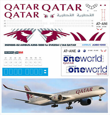 1/144 PAS-DECALS PAS-MODELS REVELL ZVEZDA AIRBUS A350-1000 QATAR / One World • 10.73£