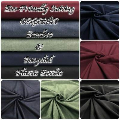 £8.85 • Buy Eco Friendly RECYCLED ORGANIC Bamboo Suiting Fabric- Made From Plastic Bottles!