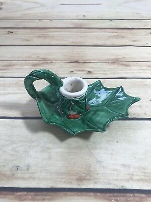 $ CDN21.19 • Buy Vtg Ceramic Holly Berry Christmas Candle Stick Holder 1Pc Handle Green Red White