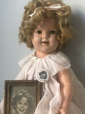 """$112 • Buy Vintage 1930's (?) Ideal 18"""" Shirley Temple Composition Doll In Original Dress"""