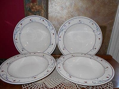 $17.99 • Buy Set 4 Mikasa Intaglio CAC20 Annette Large Rimmed Soup Cereal Ice Cream Bowls 1