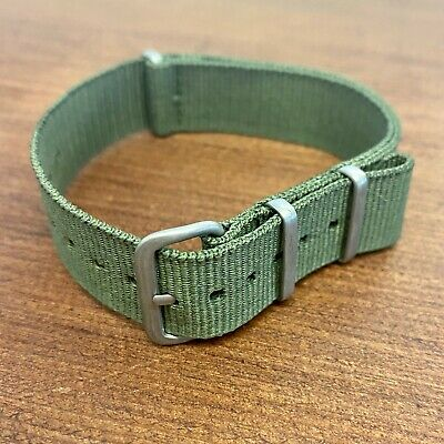 011. NATO Nylon Watch Strap OLIVE GREEN & SATIN BRUSHED METAL BUCKLE  • 9.99£