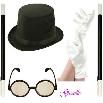 £2.99 • Buy New Mens Top Lincoln Magicians Ringmaster Hat Wizard Glasses Wand Gloves Lot Set