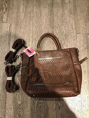 £25.46 • Buy Chinese Laundry Tote Crossbody Or Back Pack Faux Leather Brown With Fringe