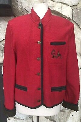 $19.99 • Buy Geiger Austria Women's Red Olive Green Boiled Wool Button Jacket Pockets 38 US 8