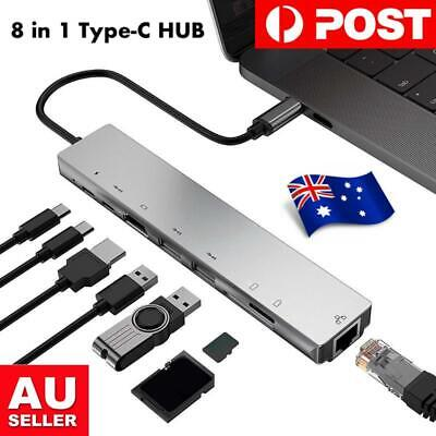 AU42.95 • Buy 8 In1 USB-C 3.1 To Type-C USB 3.0 Hub HDMI RJ45 Ethernet Micro SD TF OTG Adapter