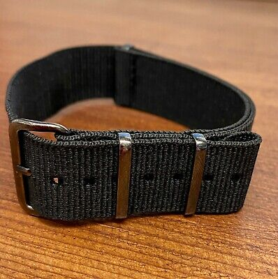 012. NATO Nylon Watch Strap BLACK & GUNMETAL BLACK METAL BUCKLE  • 9.99£
