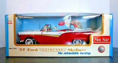 $65 • Buy SunStar 57 Ford Fairlane Skyliner Convertible W/ Retractable Hood 1/18 Scale NIB