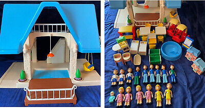 $220 • Buy Vintage Little Tikes Doll House Blue Roof Lot With Accessories 42 Pieces