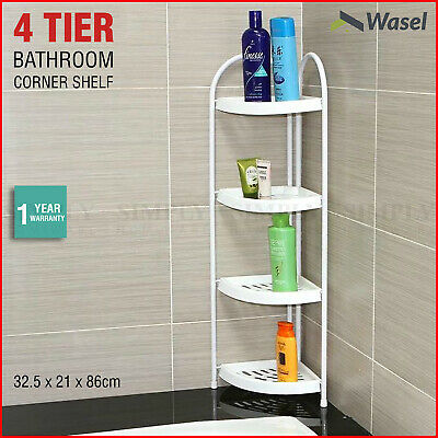 AU39.90 • Buy Shower Corner Shelf White Caddy Bathroom Shelves Organiser Bath Storage Rack 4