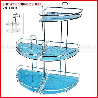 AU29.90 • Buy Shower Corner Shelf Chrome Caddy Shelves Organiser Bath Storage Rack Bathroom