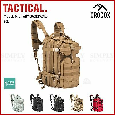 AU29.90 • Buy Crocox Military Tactical Backpack Molle Bag Rucksack Canvas Army Pouches Hiking