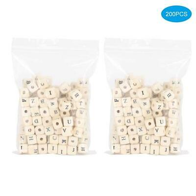 £4.62 • Buy 200 Pcs - 10mm Alphabet Wood Letter Cube Wooden Beads Jewelry Crafts Making DIY