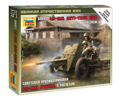 Zvezda 1/72 Soviet 45mm Anti Tank Gun With Crew Z6112 • 4.95£