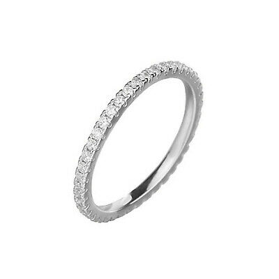Sterling Silver CZ Crystal Stacking Full Eternity Thin Ring I -Q • 12.50£