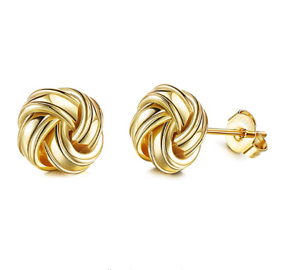 9ct Gold & Silver Celtic Knot Ladies Stud Earrings • 12.99£