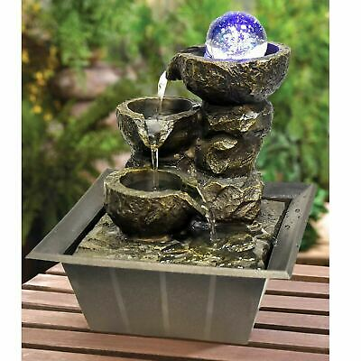 Indoor Stone Fountain Water Feature LED Lights Polyresin Statues Home Decor • 19.95£