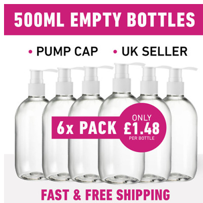£8.88 • Buy 500ML Empty Plastic Pump Bottles For Hand Gels & Lotion *6 Pack*