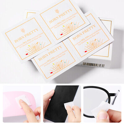 50Pcs BORN PRETTY Isopropyl Alcohol Cotton Wraps Cleaner Pads Nail Art Wet Wipes • 3.58£