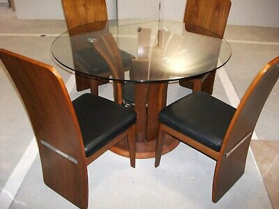 Second Hand Circular Glass Topped Dining Table With 4 Chairs.Must Be Seen  • 120£