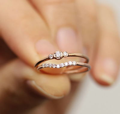 $ CDN24.08 • Buy Dainty Delicate Rose Gold Stacking Finger Ring Tiny CZ Set Of 2 Stackable Rings