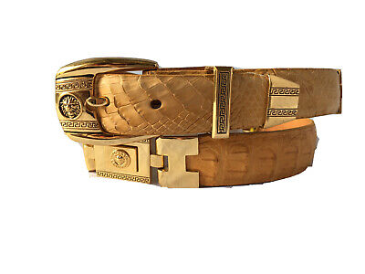 $59.99 • Buy Mens Belt Buttercup Crocodile Exotic Leather Gold Links SZ 34 Cinto Exotico