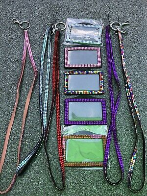 Lanyard And ID Card Landscape Holder Encrusted With Artificial Gems   • 2.80£