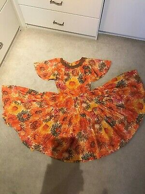$32 • Buy Vintage Square Dance Tiered Flutter Sleeve Dress Yellow Orange Brown Small *