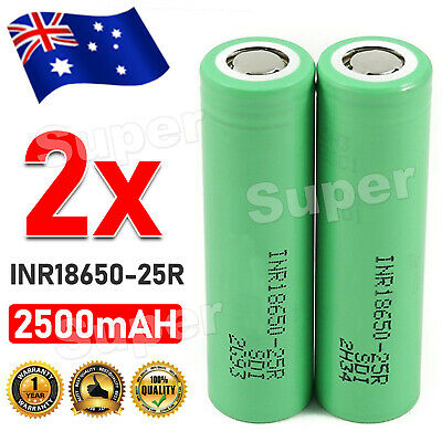 AU9.95 • Buy 2x Samsung 25R 18650 2500mAh INR18650 25r Lithium Rechargeable Battery 20A