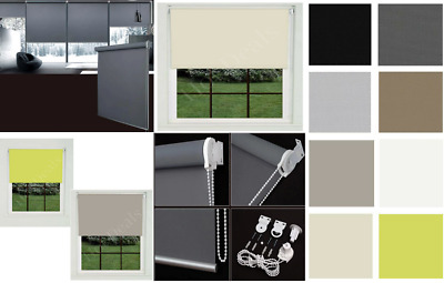 100% Thermal Roller Blinds Plain Color UV-resistant Blackout Trimmable Easy Fit • 40.93£