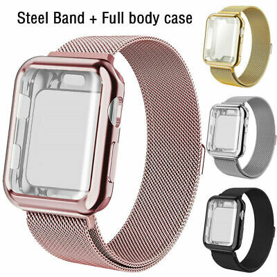 $ CDN11.23 • Buy For Apple Watch Series 5 4 3 2 1 Milanese IWatch Band Strap+Full Body Case Cover
