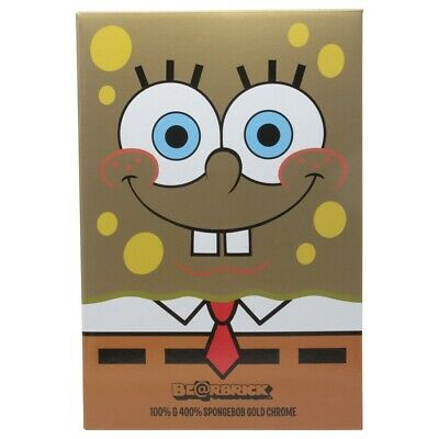 $230 • Buy Medicom BE@RBRICK SpongeBob SquarePants Gold Chrome 100% 400% Bearbrick Figure S