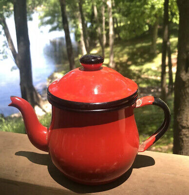 $12.50 • Buy Vintage Individual Red Enamel Ware Teapot Black Trim With Lid Asahi Japan
