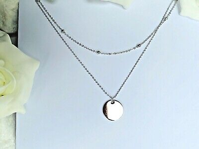 Elegant 925 Sterling Silver Double Layer Chain Necklace Ball Bead Disk Pendant  • 9.94£